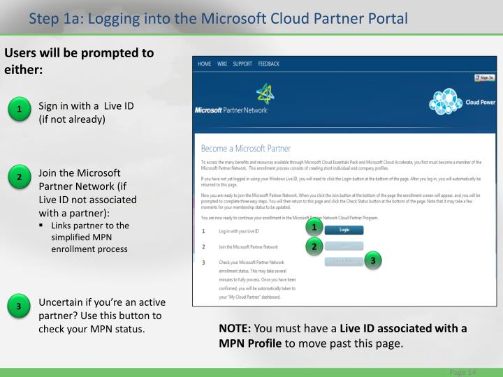 Step 1a: Logging into the Microsoft Cloud Partner Portal