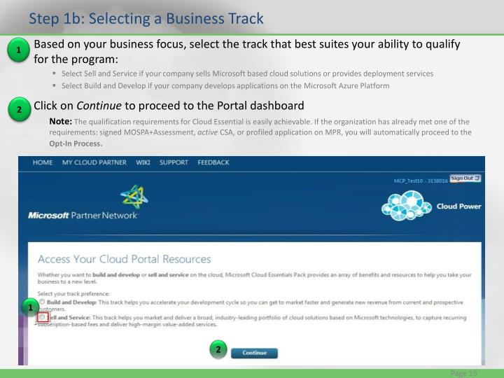 Step 1b: Selecting a Business Track