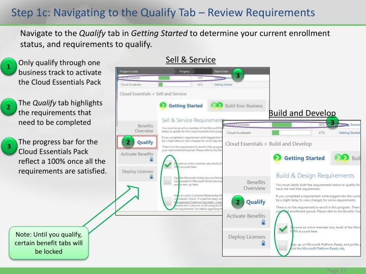 Step 1c: Navigating to the Qualify Tab – Review Requirements