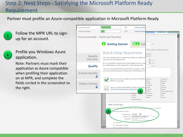 Step 2: Next Steps - Satisfying the Microsoft Platform Ready Requirement