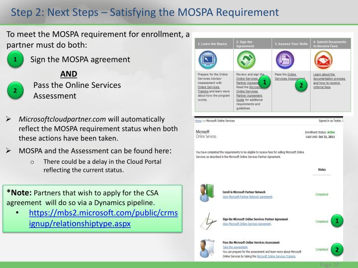 Step 2: Next Steps – Satisfying the MOSPA Requirement