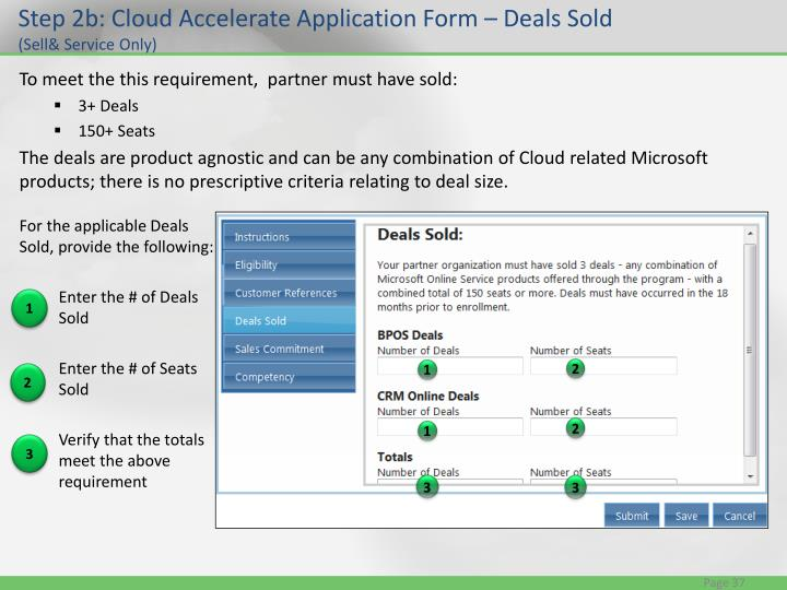 Step 2b: Cloud Accelerate Application Form – Deals Sold