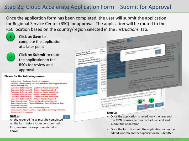 Step 2c: Cloud Accelerate Application Form – Submit for Approval
