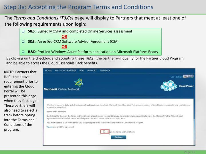 Step 3a: Accepting the Program Terms and Conditions