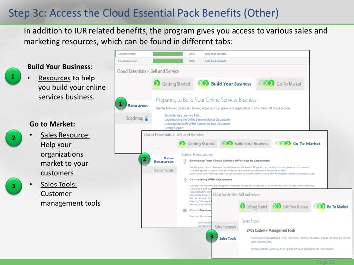 Step 3c: Access the Cloud Essential Pack Benefits (Other)
