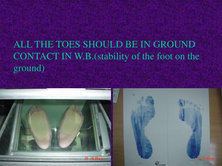 ALL THE TOES SHOULD BE IN GROUND CONTACT IN W.B.(stability of the foot on the ground)