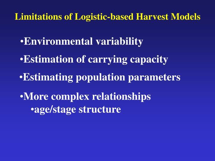 Limitations of Logistic-based Harvest Models