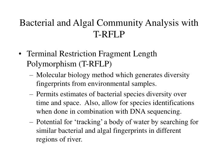 Bacterial and Algal Community Analysis with T-RFLP