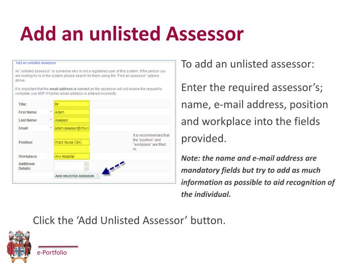 Add an unlisted Assessor