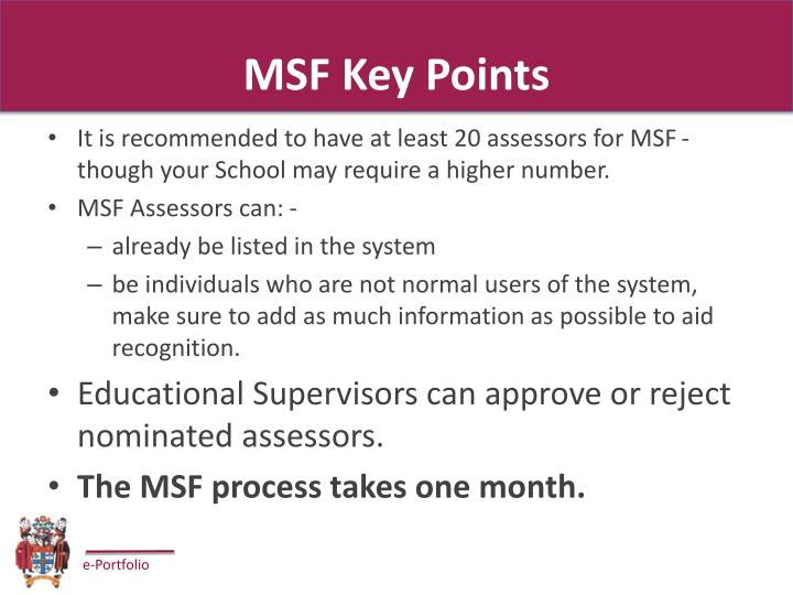 MSF Key Points