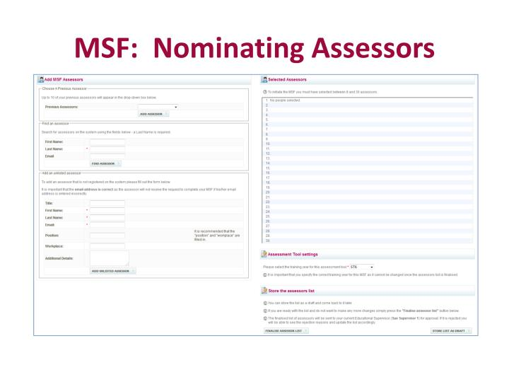 MSF:  Nominating Assessors