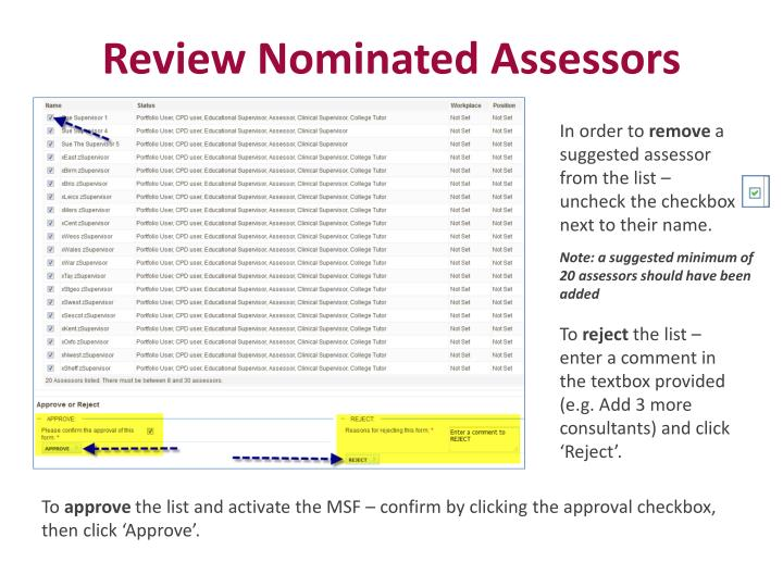 Review Nominated Assessors