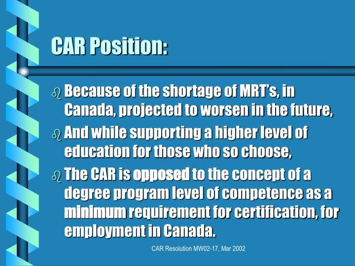 Car position