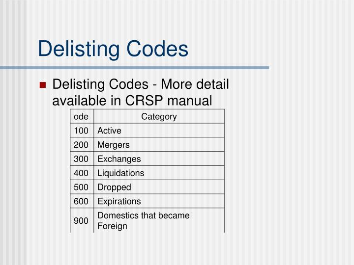 Delisting Codes