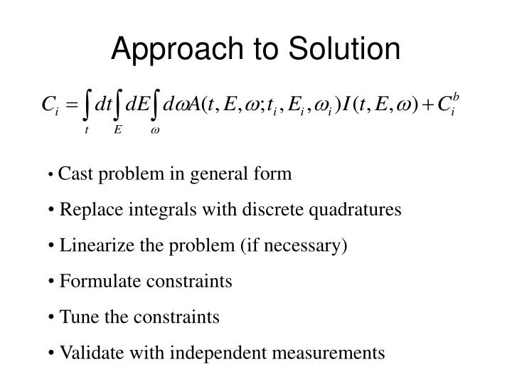 Approach to Solution