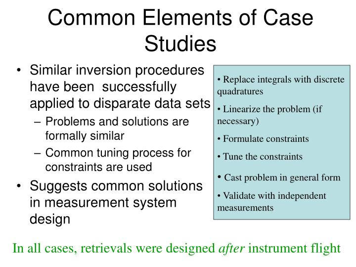Common Elements of Case Studies