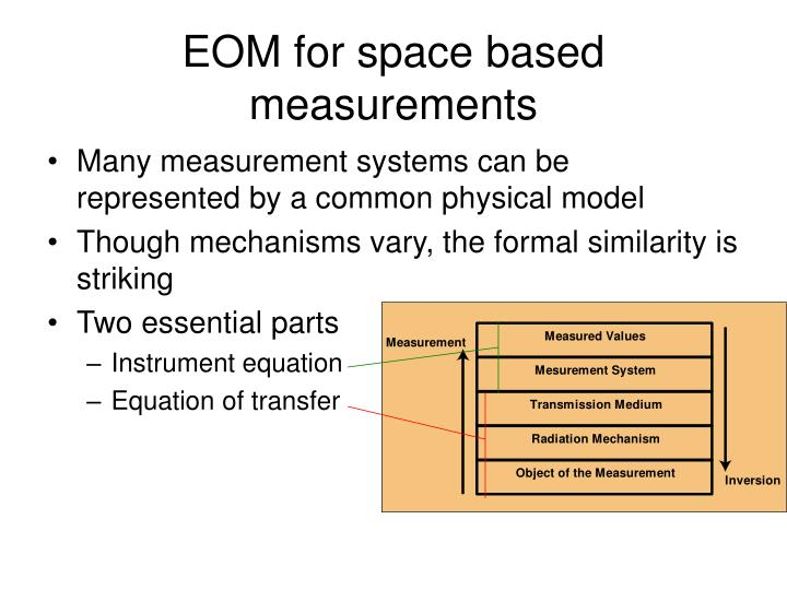 EOM for space based measurements
