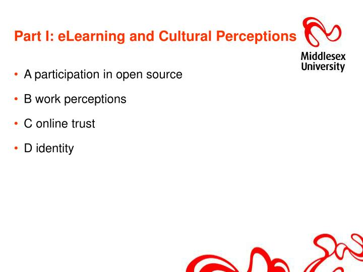 Part i elearning and cultural perceptions