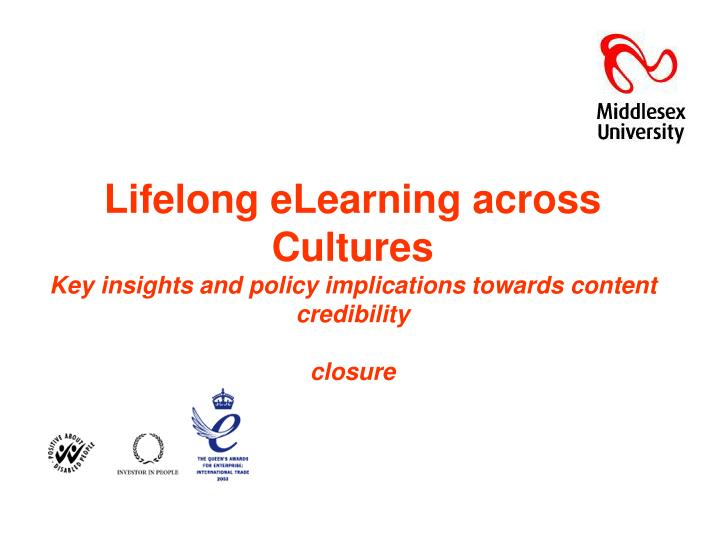 Lifelong eLearning across Cultures