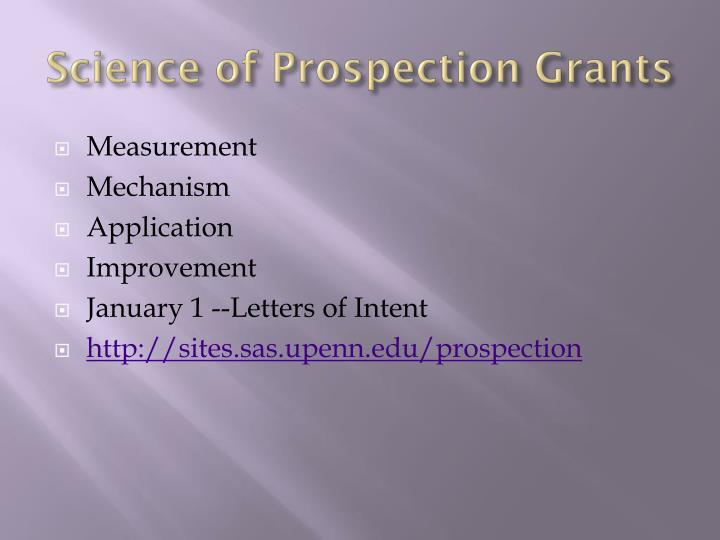 Science of Prospection Grants