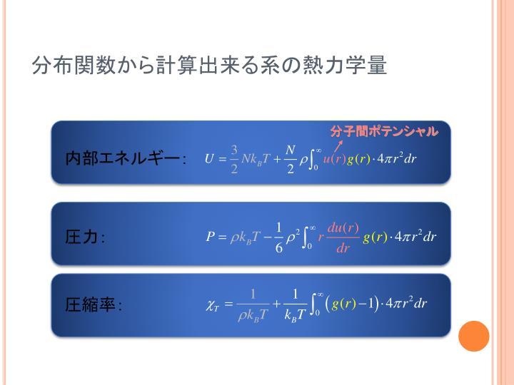 分布関数から計算出来る系の熱力学量