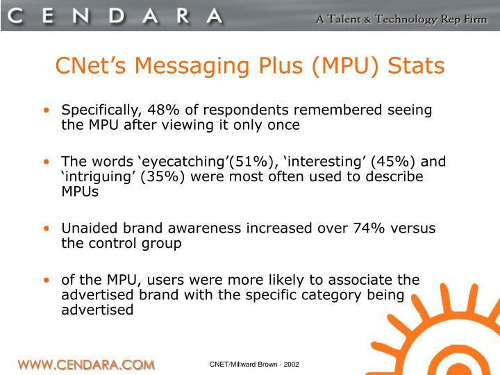 CNet's Messaging Plus (MPU) Stats