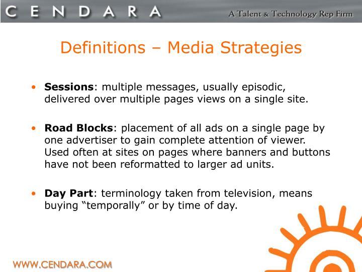 Definitions – Media Strategies
