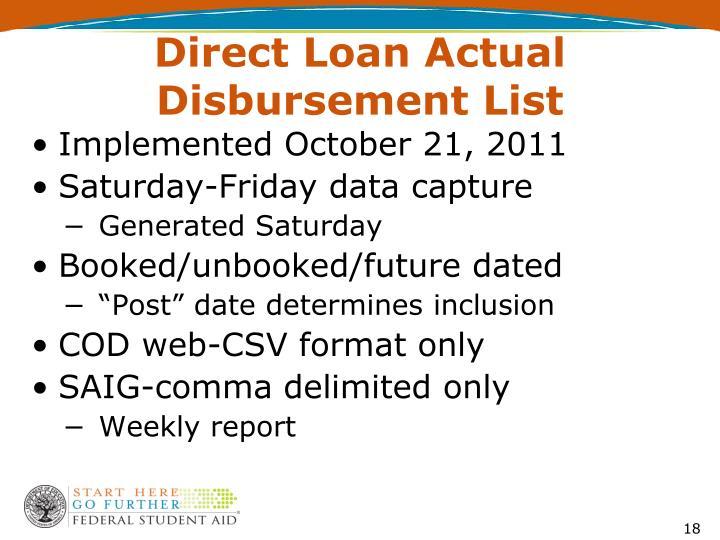 Direct Loan Actual Disbursement List