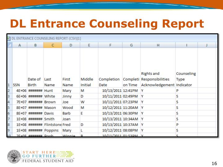 DL Entrance Counseling Report