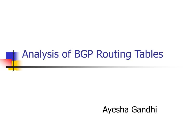 analysis of bgp routing tables n.