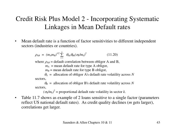 Credit Risk Plus Model 2 - Incorporating Systematic Linkages in Mean Default rates