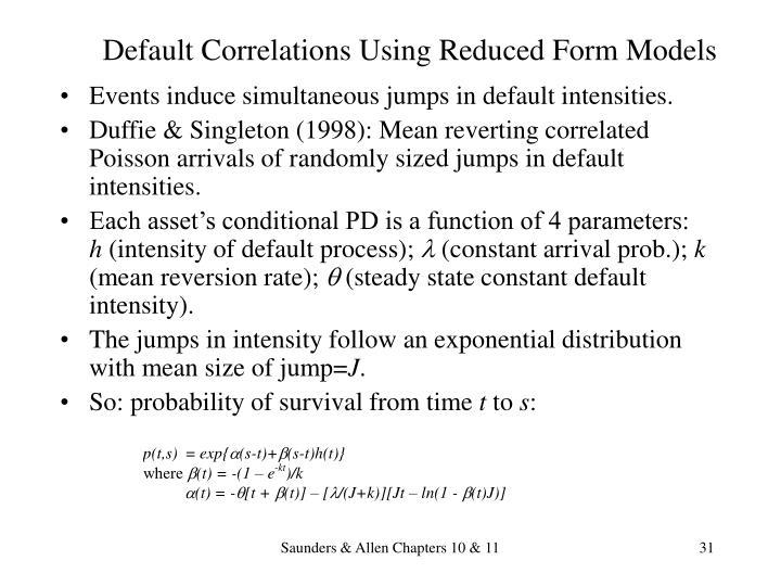Default Correlations Using Reduced Form Models
