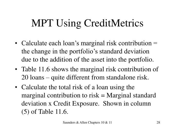 MPT Using CreditMetrics