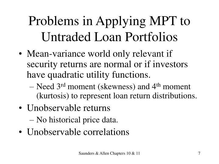 Problems in Applying MPT to Untraded Loan Portfolios