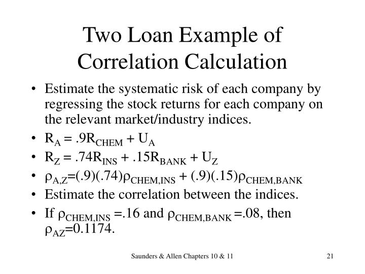 Two Loan Example of Correlation Calculation