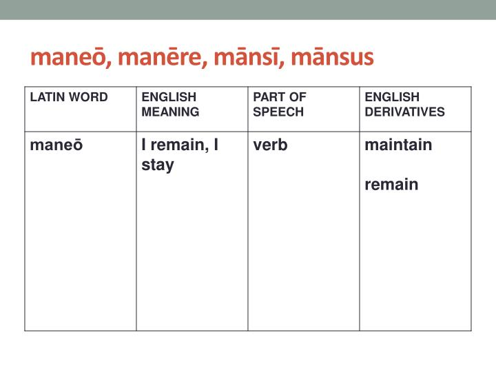 maneō, manēre, mānsī, mānsus