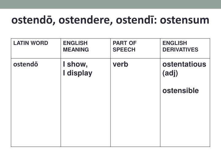 ostendō, ostendere, ostendī: ostensum
