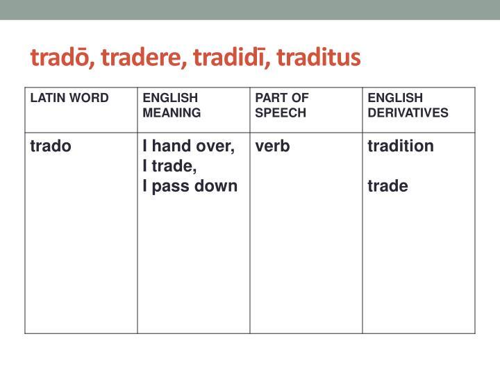tradō, tradere, tradidī, traditus