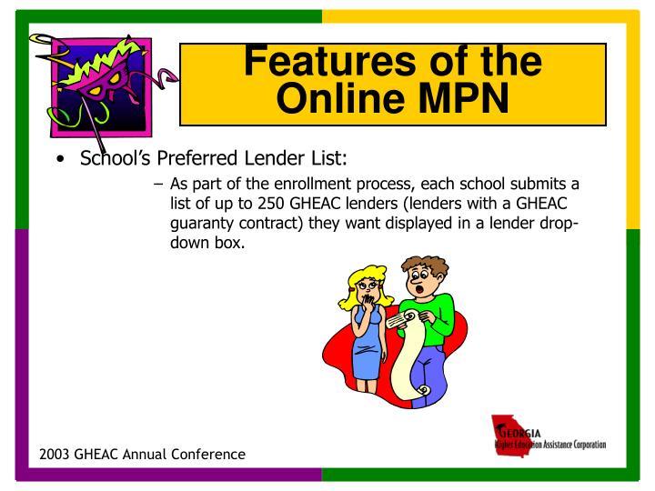 School's Preferred Lender List: