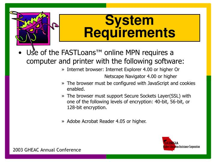 Use of the FASTLoans