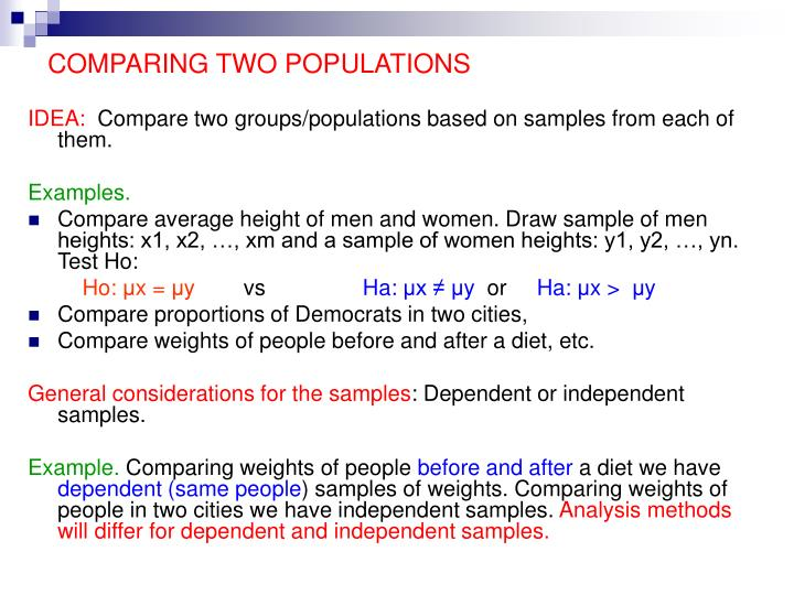 comparing two populations n.