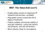 msf the value add con t