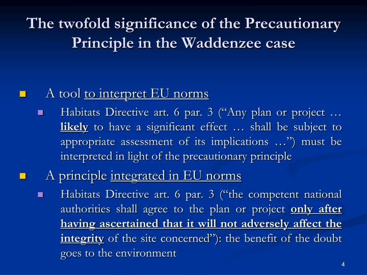 The twofold significance of the Precautionary Principle in the Waddenzee case