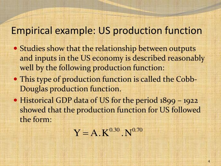 Empirical example: US production function