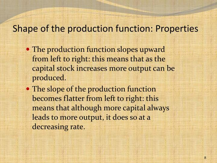 Shape of the production function: Properties