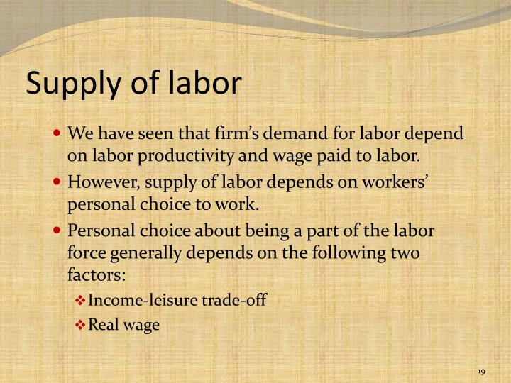 Supply of labor