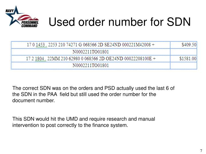 Used order number for SDN