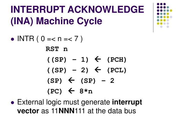 INTERRUPT ACKNOWLEDGE (INA) Machine Cycle