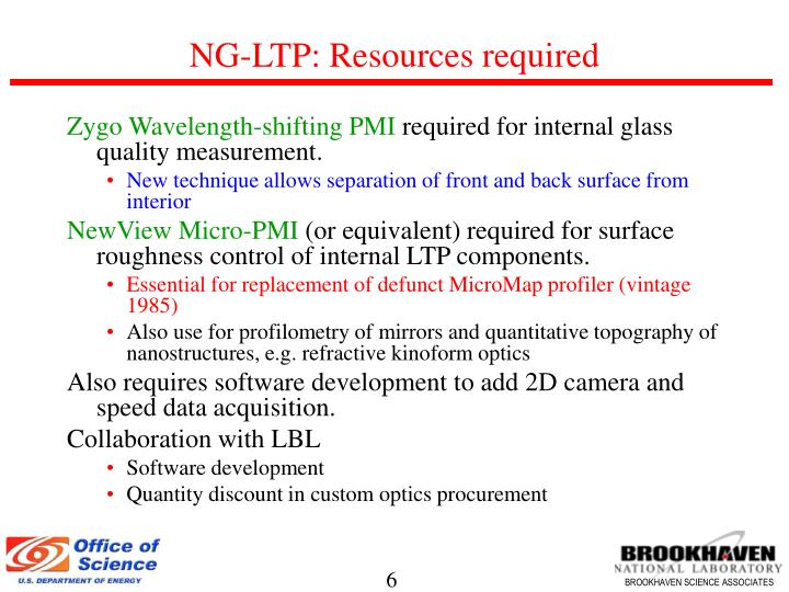 NG-LTP: Resources required