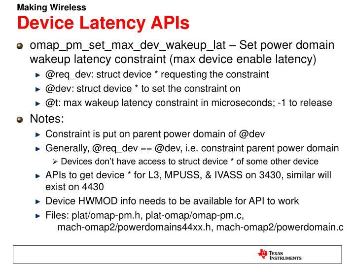 Device Latency APIs